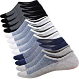 WSupiki No Show Socks Men 6 Pairs Cotton Mens Casual Non-Slip Low Cut Ankle Socks Size 6-12