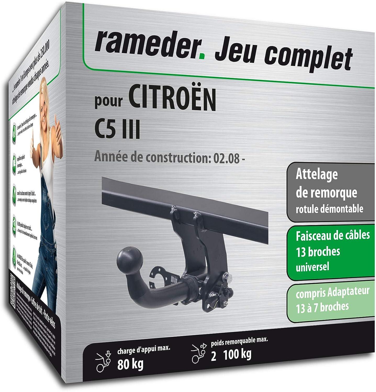 160102-06729-1-FR Rameder Attelage rotule d/émontable pour CITRO/ËN C5 III Faisceau 13 Broches