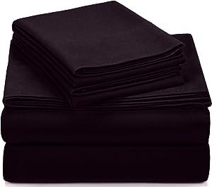 Pinzon Signature Cotton Heavyweight Velvet Flannel Sheet Set - King, Aubergine