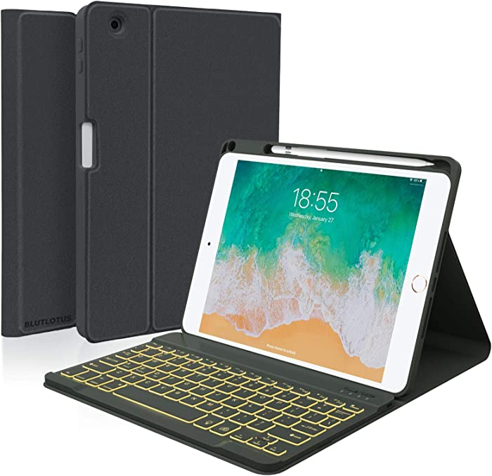 iPad Keyboard Case 5th/6th Generation 2017/2018, 9.7 Inch iPad Air 2 Case with Keyboard, Removeable Wireless Backlit Keyboard, Folio Smart Cover, Auto-Wake Tablet Case(Black)
