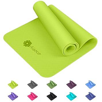 Aisoco Estera de TPE para Yoga - Pilates Mat - Eco Amistoso Mat,Antideslizante, Respetuosa con el Medio Ambiente, con Bolso y Correa de Transporte
