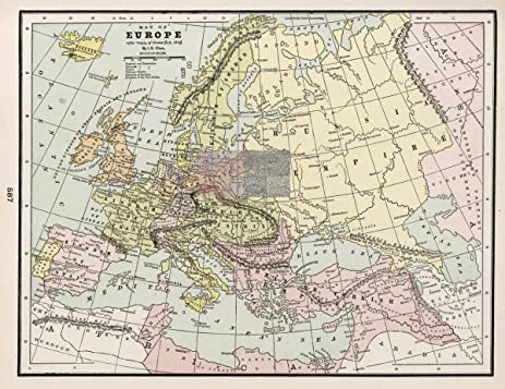Amazon 1901 world atlas map of europe after treaty of vienna 1901 world atlas map of europe after treaty of vienna ad 1815 antique gumiabroncs Choice Image