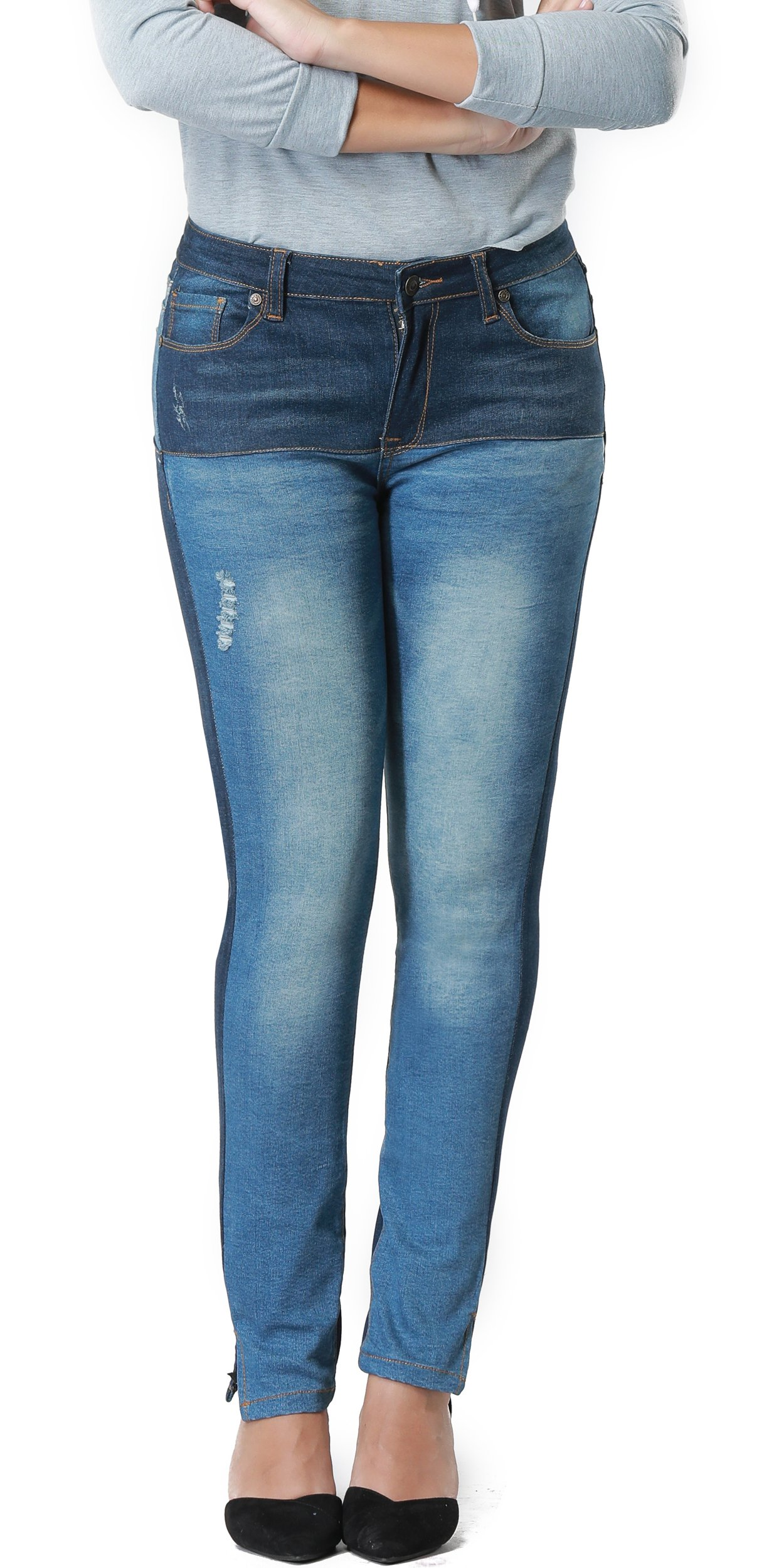 Women's Hight Waisted Butt Lift Stretch Ripped Skinny Jeans Distressed Denim Pants (US 16, Blue 25)