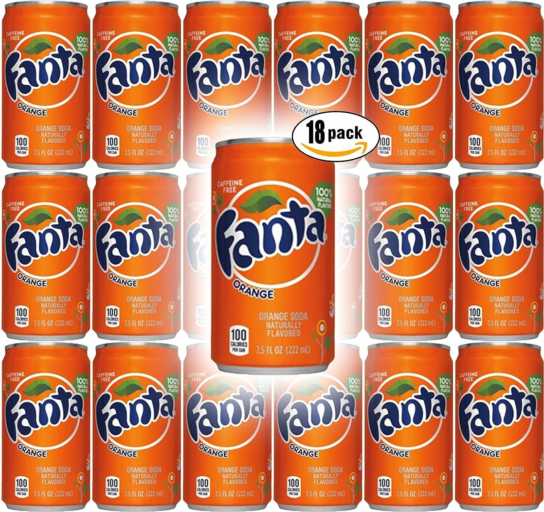 Fanta Orange Soda, 7.5 Fl Oz Mini Cans (Pack of 18, Total of 135 Fl Oz)