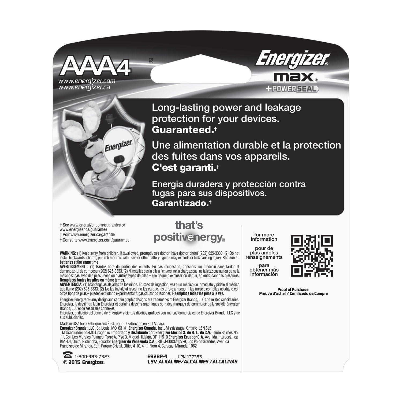 Energizer Max Alkaline Aaa Batteries 4 Count Amazon