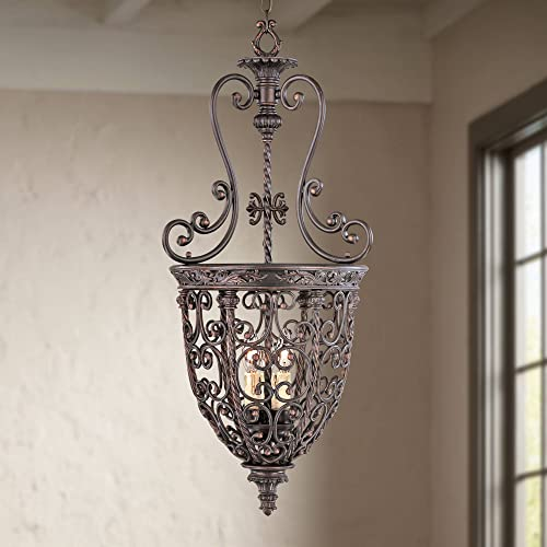 French Scroll Rubbed Bronze Pendant Chandelier 15 1/4″ Wide Rustic Country Iron 3-Light Fixture