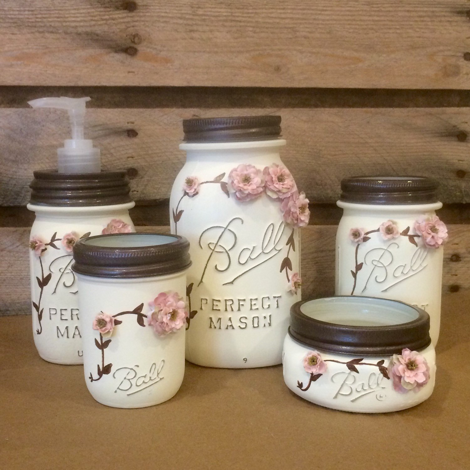 Cottage Chic Ivory and Rose Vintage Mason Jar Bathroom Set, Shabby Painted Mason Jar Bathroom Accessories, Rustic Bath Decor