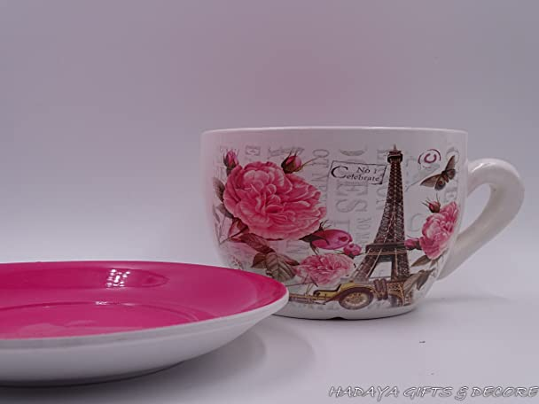 Superb Amazon Com Paris Themed Teacup Shaped Planter With PINK Saucer Decorative  Shabby Chic Ceramic Showpiece Garden Outdoor Gallery