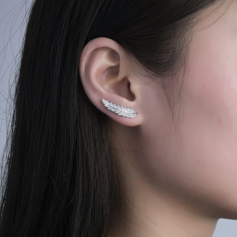 Ear Crawler Earrings Ear Climber Wrap Earrings CZ Small Leaf Hypoallergenic by DIDa (Image #5)