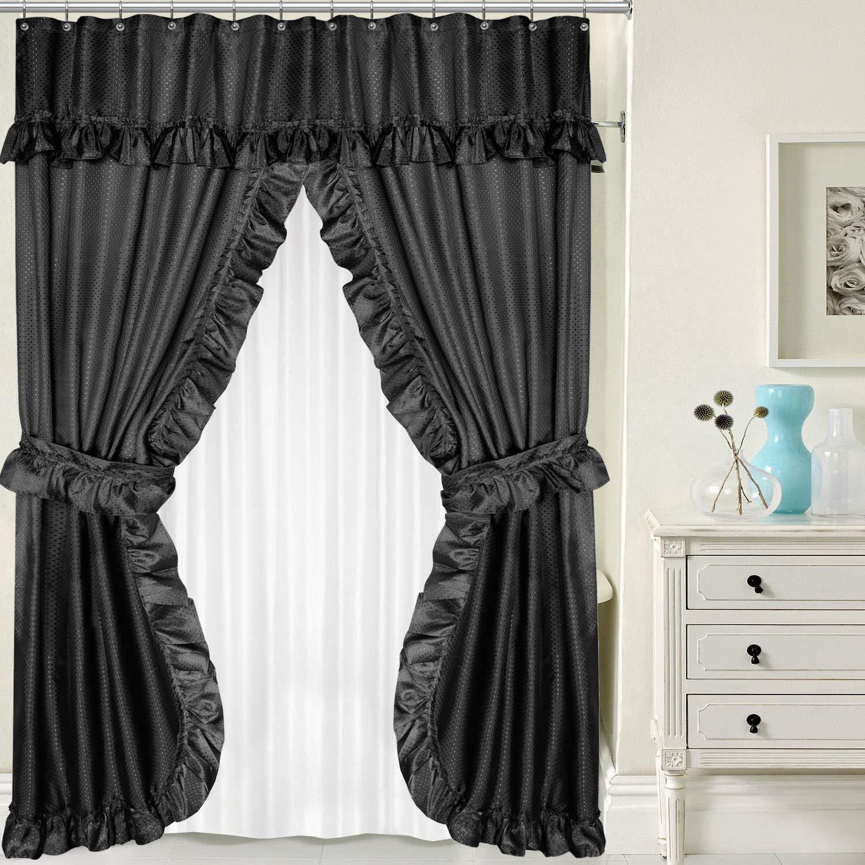 New Lauren Double Swag PEVA Fabric Shower Curtain w/Tie Backs & Liner 70'' x 72''- Black.