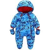 Baby Schlafsack 3 Tog Neugeborenen Langen /Ärmeln mit Kapuze Strampler Winter Rei/ßverschluss Vorne 0-3 Monate,Blau