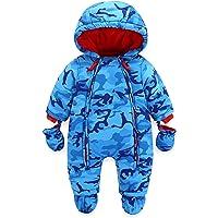 Baby Schneeanzug mit Kapuze Spielanzug Winter Overall Reißverschluss Vorne