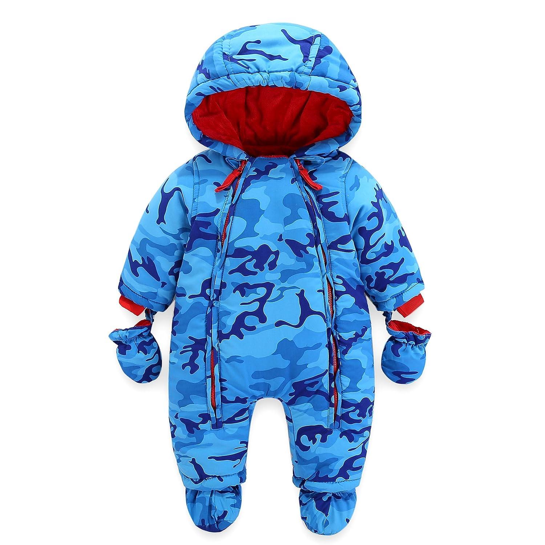 Baby Snowsuit Infant Hooded Romper Winter Jumpsuit Zipper Front (3-6 Months) Vine Trading Co ltd