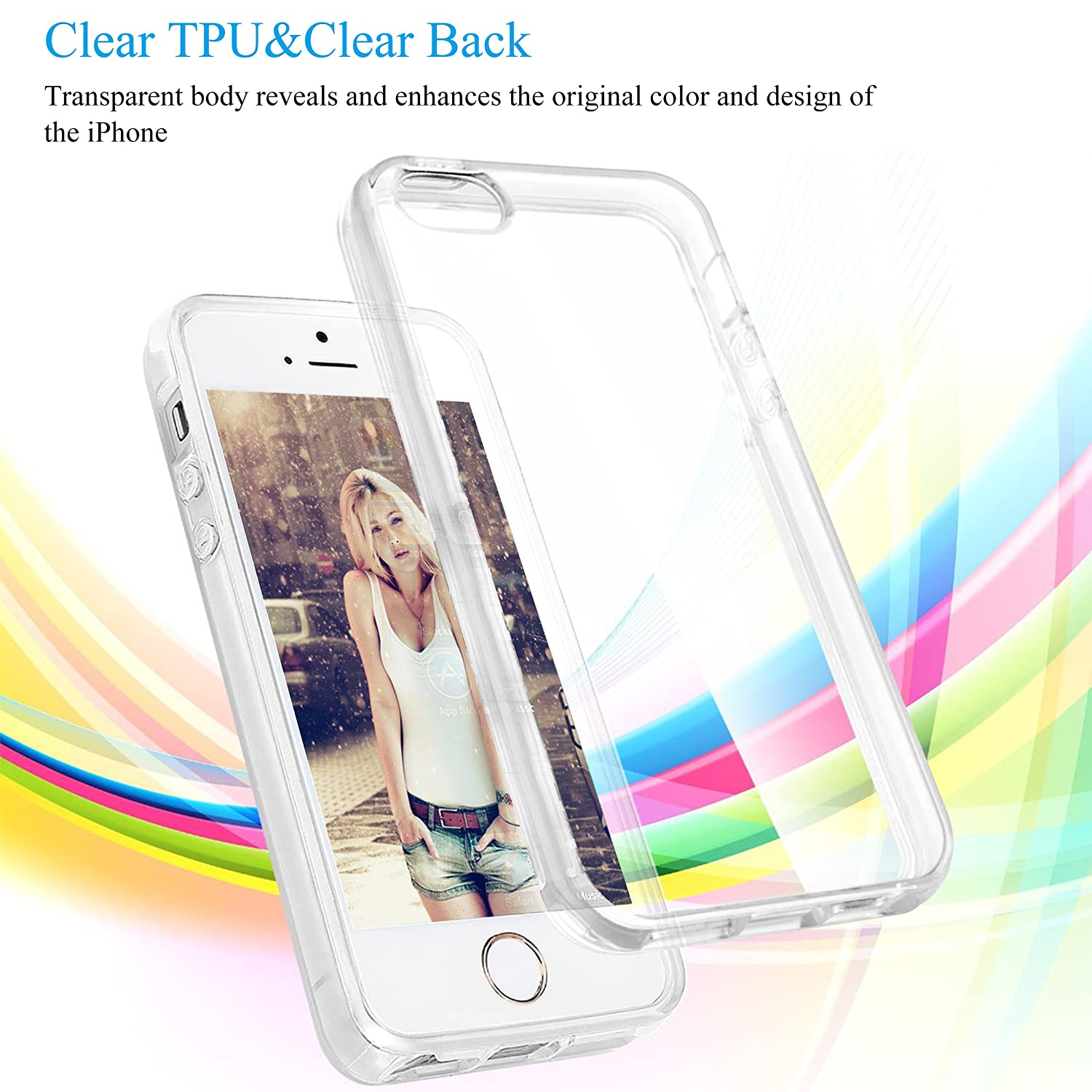 Ailun Phone Case Compatible Iphone 5s Se 5 Hippo Tempered Glass Crystal Screen Guard 5c Shock Absorption Bumper Tpu Clear Covercrystal Cell Phones Accessories