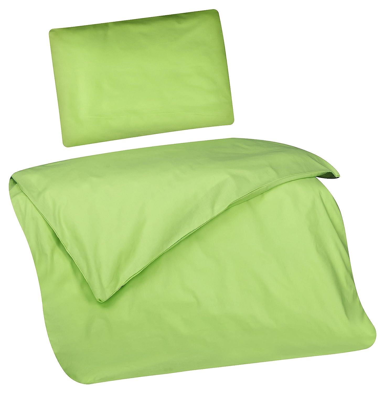 Aminata Kids – Babybettwäsche 80x80 cm Kinder Jungen Mädchen Unifarben Grün Baumwolle Reißverschluss Wiegenbettwäsche Einfarbig Hellgrün Bettbezug Stubenwagen Kinderwagenbettwäsche Kinderbettwäsche