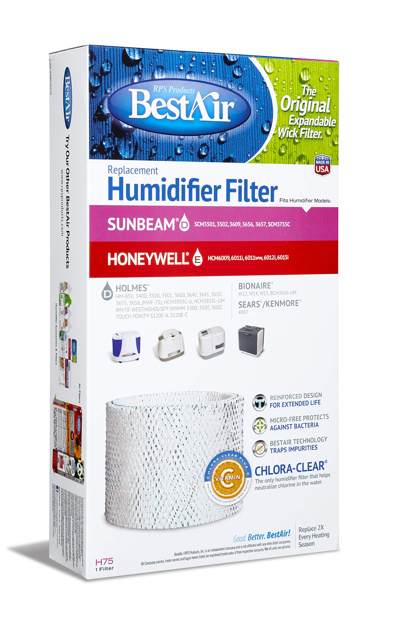 BestAir H75-PDQ-4 Extended Life Humidifier Replacement Paper Wick Humidifier Filter, For Holmes, Sunbeam, Touch Point, White-Westinghouse & Bionaire Models, 7.9'' x 2.6'' x 14'', 4 Pack by BestAir