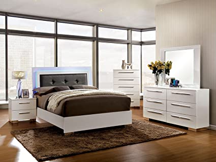 Classic Contemporary Platform Bed W LED Lights Eastern King Size Bed  Dresser Mirror Nightstand 4pc Set
