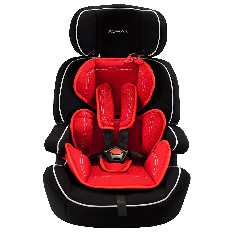 XOMAX XM-K5 RED BLACK Autokindersitz + Gruppe I / II / III (9 - 36 kg) + ECE R44/04 geprüft + Farbe: Schwarz / Rot + mitwachsend + 5-Punkte-Sicherheitsgurt + Kopfstütze verstellbar + Rückenlehne abnehmbar / Bezüge abnehmbar & waschbar XM-K5 BLACK