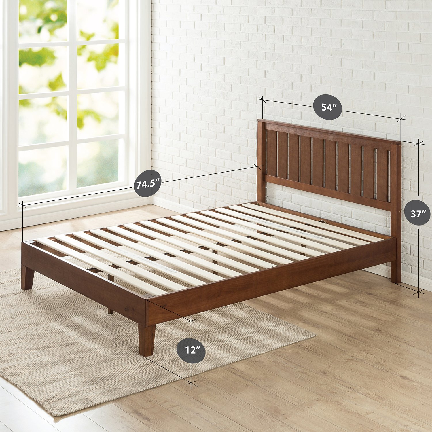 Zinus 12 Inch Deluxe Wood Platform Bed with Headboard / No Box Spring Needed / Wood Slat Support / Antique Espresso Finish, Full by Zinus (Image #2)