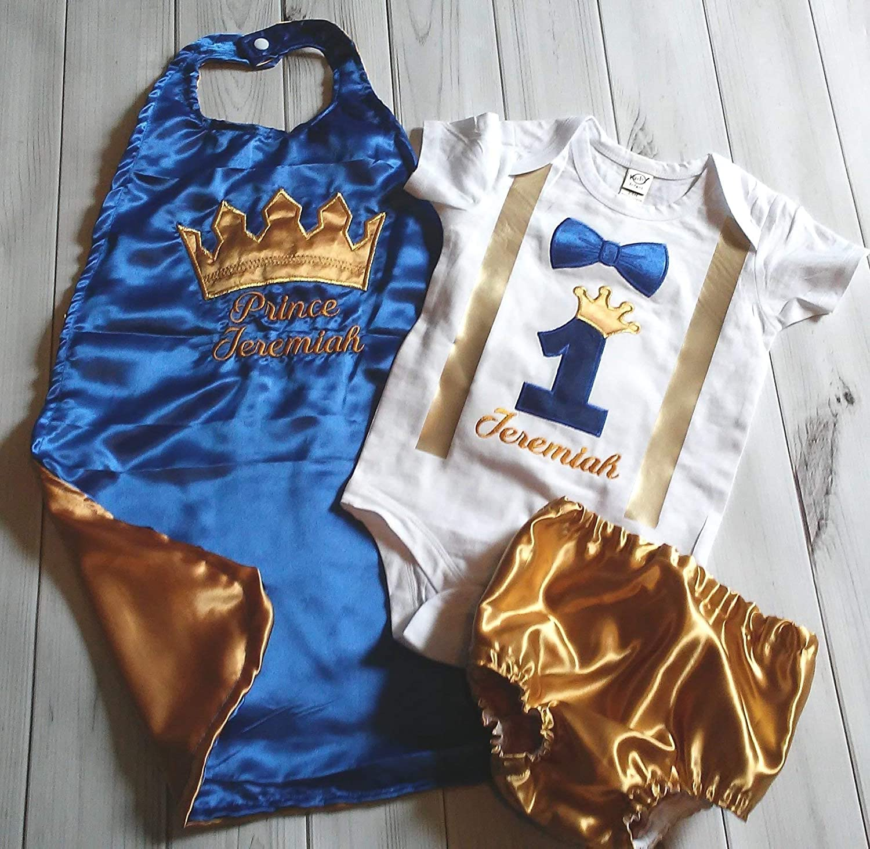 Blue Gold Prince King 12 birthday Royal Baby boy photo prop crown satin cape