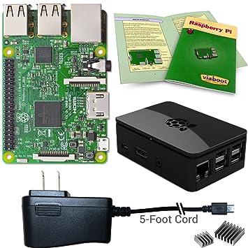Viaboot Raspberry Pi 3 Power Kit — UL Listed 2 5A Power Supply, Premium  Black Case Edition