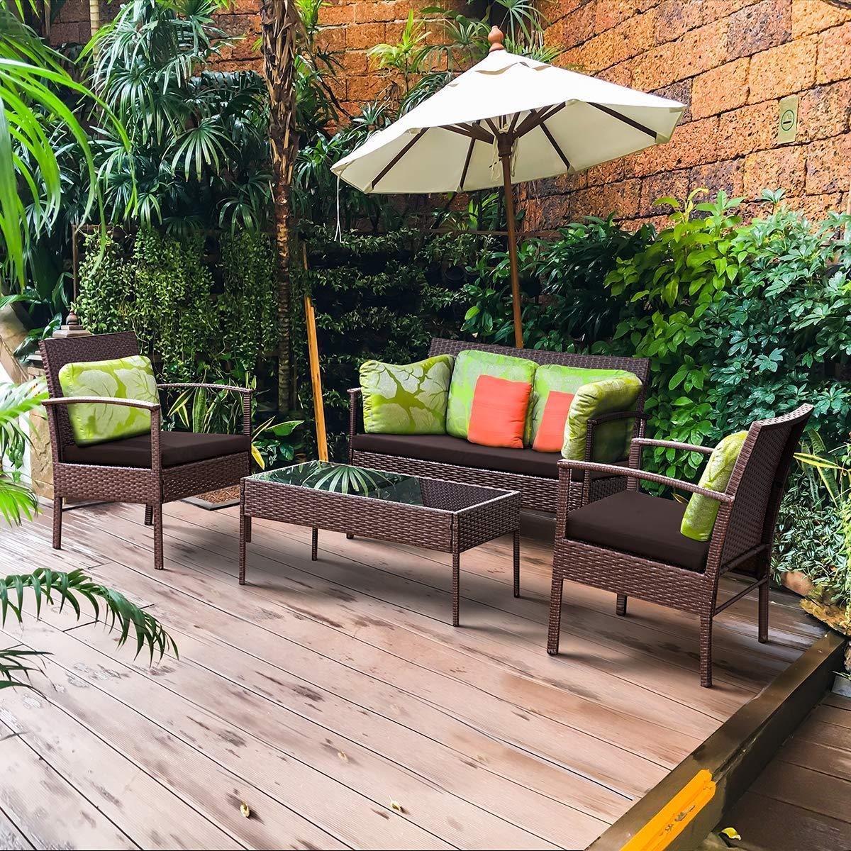 Tangkula 4 Piece Outdoor Furniture Set Patio Garden Pool Lawn Rattan Wicker Loveseat Sofa Cushioned Seat & Glass Top Coffee Table Modern Wicker Rattan Conversation Set (Brown)