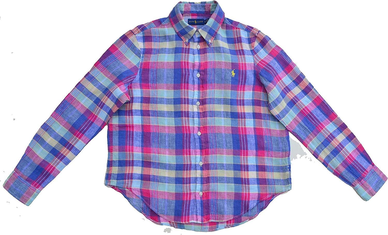 Ralph Lauren - Camisas - Cuadros - con Botones - para Mujer Blau Pink Lila Mint Gelb M: Amazon.es: Ropa y accesorios
