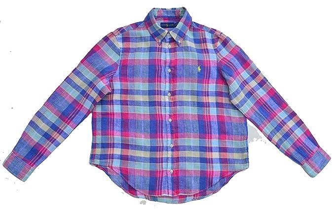 69ff45a5b4e2b0 Ralph Lauren Bluse Leinen Button Down Blau Pink Lila Mint Gelb Kariert  Loose Fit (XL