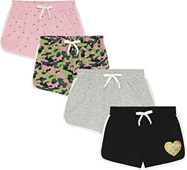BTween Girl's 4-Pack Comfy Fleece Lounge Shorts with Drawstring