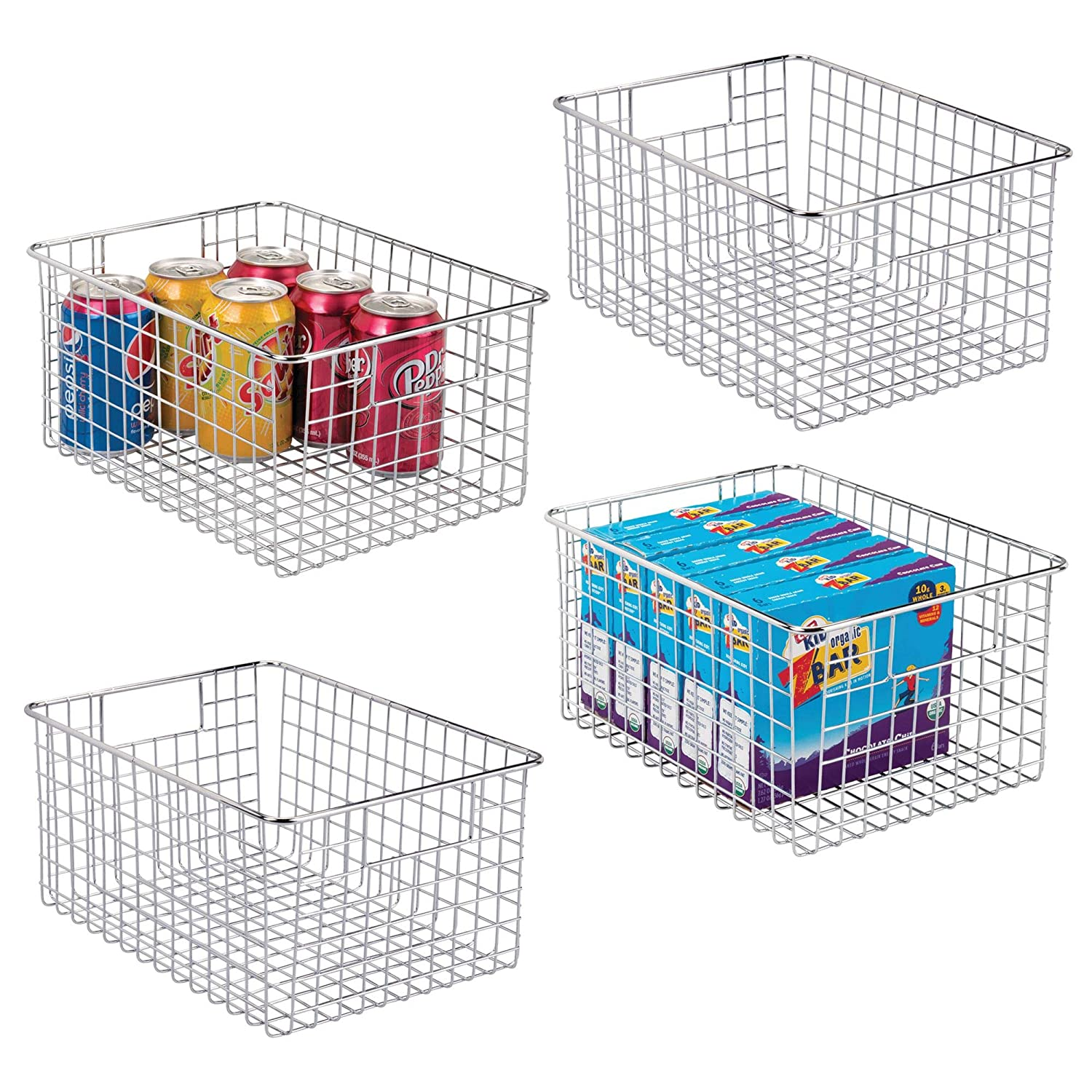 "mDesign Farmhouse Decor Metal Wire Food Storage Organizer Bin Basket with Handles - for Kitchen Cabinets, Pantry, Bathroom, Laundry Room, Closets, Garage - 12"" x 9"" x 6"" - 4 Pack - Chrome"