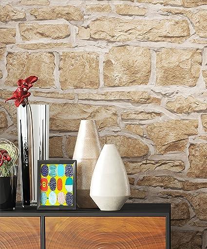 Newroom Papier Peint Brique Beige Toison Motif Brique Cailloux