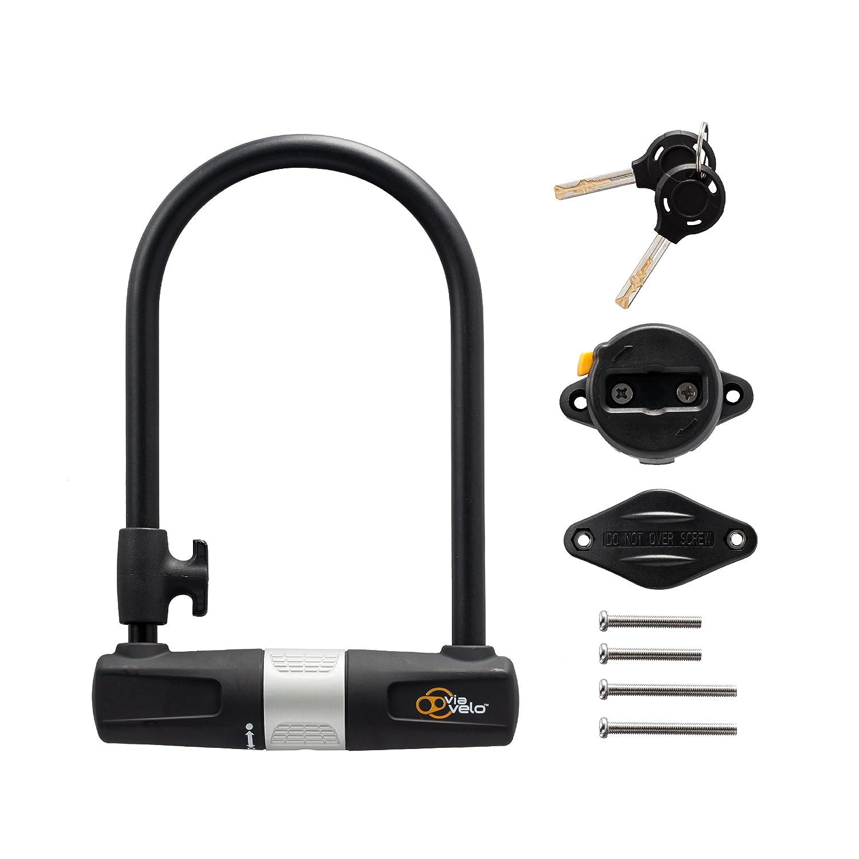 Via Velo/ /Soporte de resistente a la corrosi/ón Candado en U con cable para bicicleta de 10/mm x 180/cm