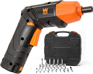 WEN 49140 4V Max Lithium Ion Rechargeable Cordless Electric Screwdriver and Flashlight with Carrying Case and 40+ Accessories