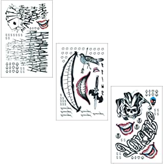 91a950e6b DaLin Temporary Tattoos for Costume Accessories and Parties 3 Large Sheets  (Joker Collection)