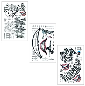 49d996203 Amazon.com : DaLin Temporary Tattoos for Costume Accessories and Parties 3  Large Sheets (Joker Collection) : Beauty