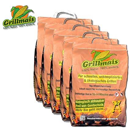 Barbacoa maíz 5 x 3 kg Carbón de maíz 100% Natural 100% SOSTENIBLE bio