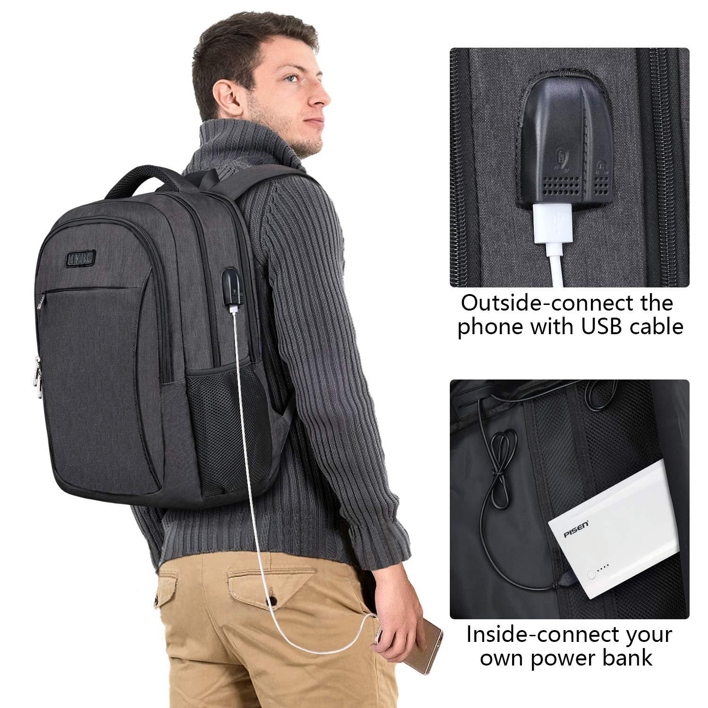Business Laptop BackpackIIYBC AntiTheft Travel Backpack with USB Charging Port  Headphone Jack Water