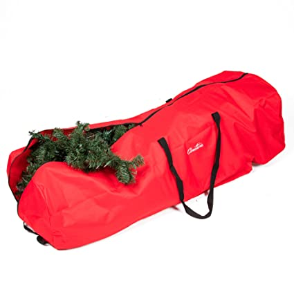 Christmas Tree Storage Bag With Wheels   XL Heavy Duty 56u0026quot;x22u0026quot;  Upright Holiday