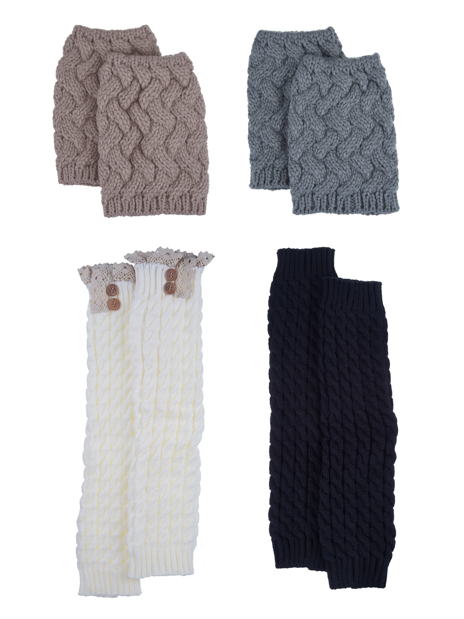 Blulu Women Knit Leg Warmers Boot Socks Toppers Crochet Cuffs with Button and Lace, 4 Pair