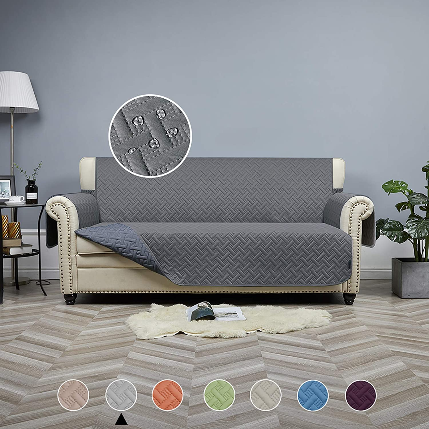 """STONECREST Sofa Cover Waterproof, Reversible Slipcover Washable Furniture Protector for Kids, Seat Width Up to 68 Inches with Straps (Dark Grey/Grey, 68"""" Sofa)"""