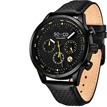 So&Co NY Trambusto - Sport, Leather Drivers Watches for Men -