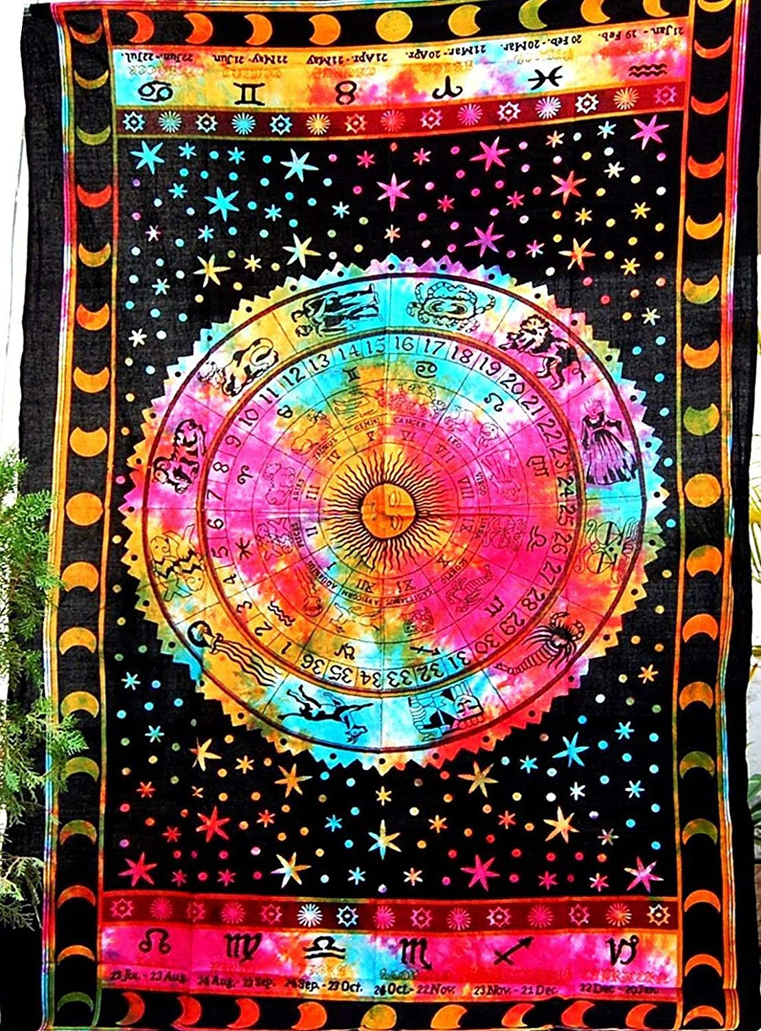 Jaipur Handloom Multi Tie Dye Zodiac Tapestry Wall Hanging Zodiac Sign Celestial Tapestry Wall Decor, Astrological Sun Moon Tapestry Wall Hanging, Horoscope Psychedelic Tapestries Wall Art