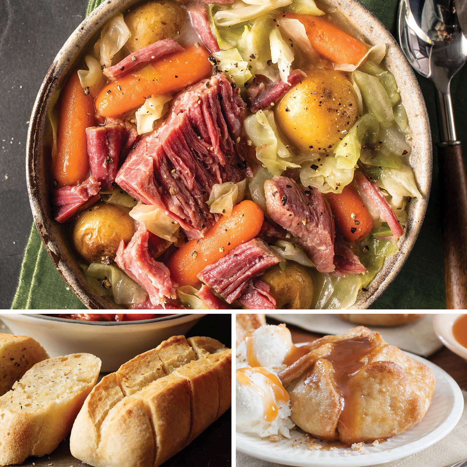 Omaha Steaks Simple St. Paddy's Dinner (9-Piece with Corned Beef and Cabbage Slow Cooker Meal, Mini-Baguettes with Garlic Butter, and Individual Caramel Apple Tartlets)