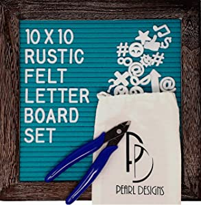 Pearl Designs Rustic Letter Board with Letters and Accessories, Teal Blue (10x10 in, Turquoise)