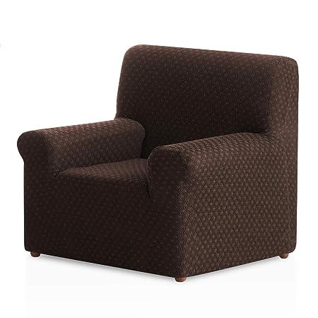 Funda de sillón elástica Olivia - Color Marrón - Tamaño 1 Plaza ...