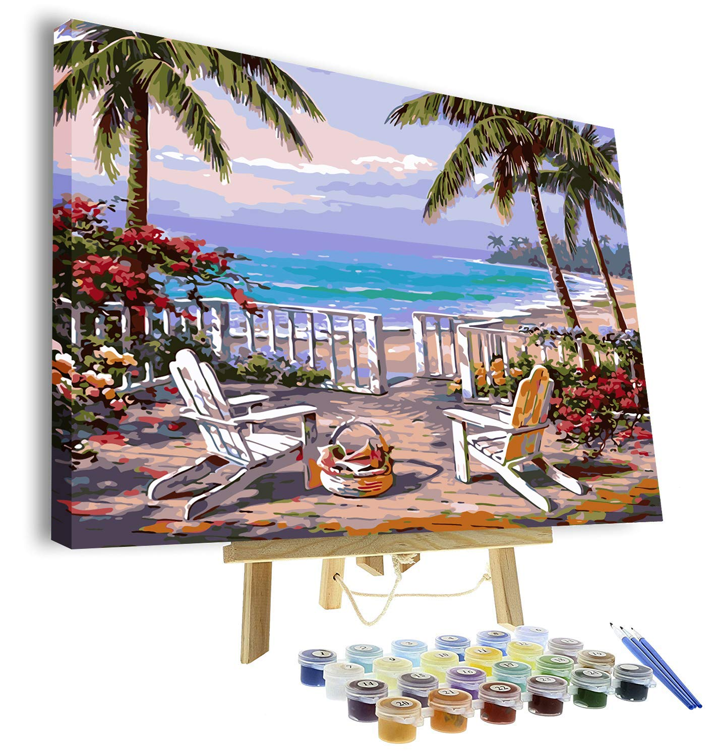 VIGEIYA DIY Paint by Numbers for Adults Include Framed Canvas and Wooden Easel with Brushes and Acrylic Pigment 15.7x19.6inch (Beach)