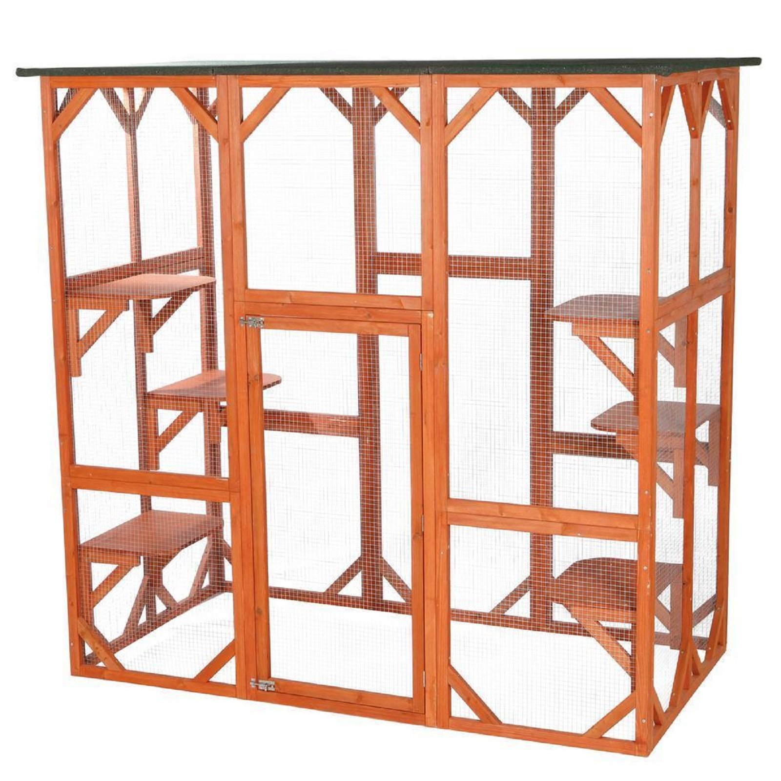 Hot Sale! Wooden Outdoor Cat House Small Medium Durable Pets Dogs Kennels Home Cottages