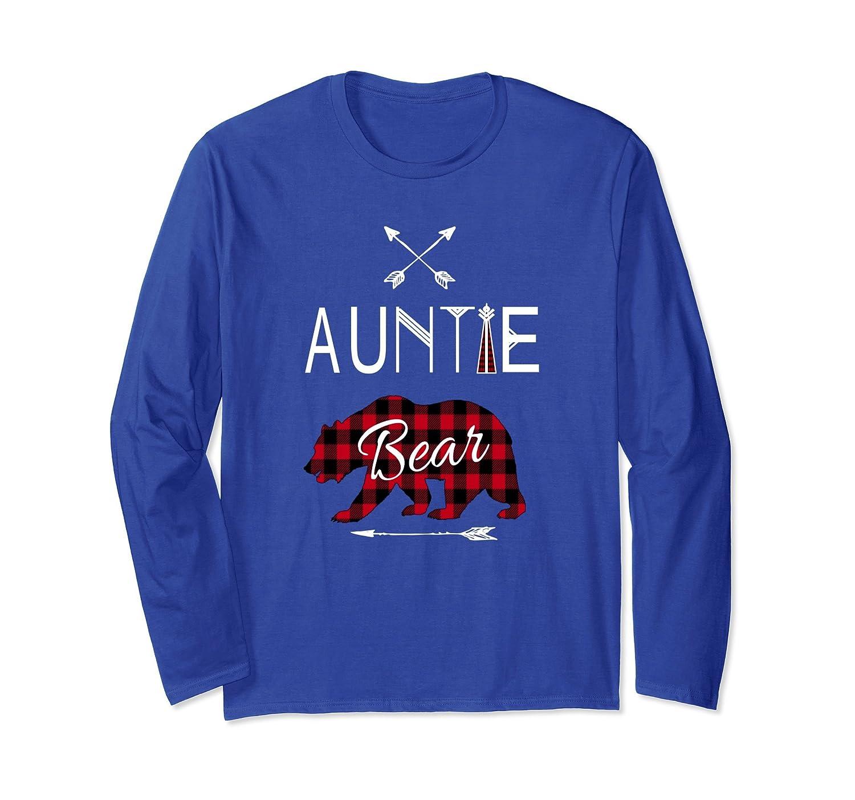 Auntie Bear Longsleeve Shirt Buffalo Plaid Family Camping-AZP