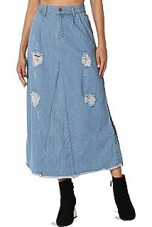 21a05e86e TheMogan Butt Lift Wash Jean Pencil Knee Length Midi Stretch Soft Denim  Skirt