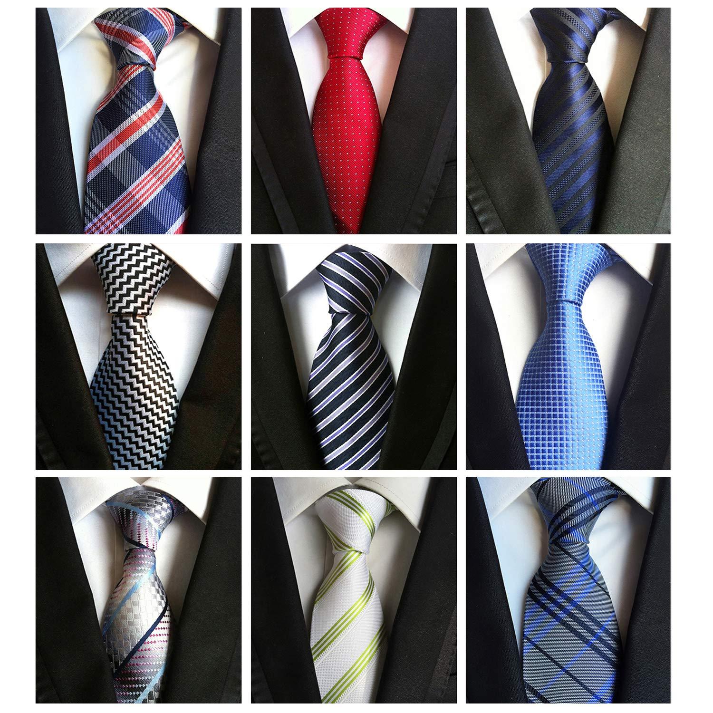 Jeatonge Lot 6pcs Mens Ties and 3pcs Tie Clips, Men's Classic Tie Necktie Woven Jacquard Neck Ties (9-9)